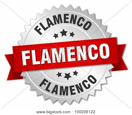 Flamenco 3D Silver Badge With Red Ribbon