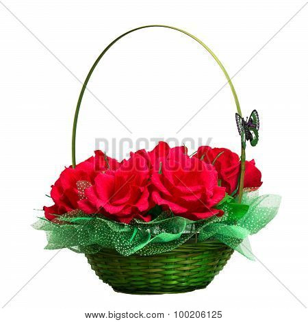 Basket With Artificial Roses