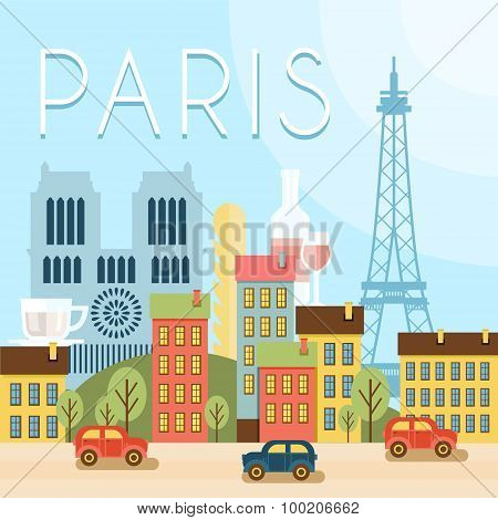 Welcome to France. Attractions of Paris, the Eiffel Tower landscape, balloon. Vector flat