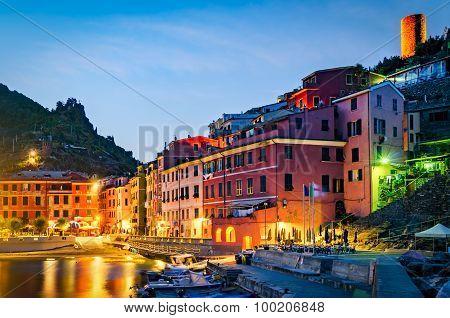 Vernazza, Cinque Terre (italian Riviera, Liguria) At Twilight