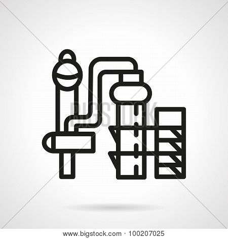 Chemical plant black line vector icon