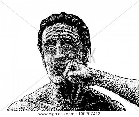 Illustrated sketch of a man being punched in the face