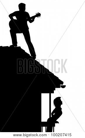 Illustrated silhouette of a man serenading a woman by playing guitar on a roof