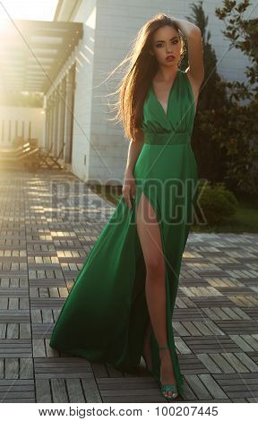 Sensual Woman With Dark Hair Wearing Elegant Silk Dress