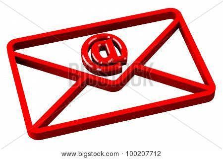 Red Envelope With Sign E-mail