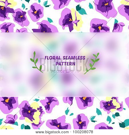 pansy seamless pattern with blurred banner