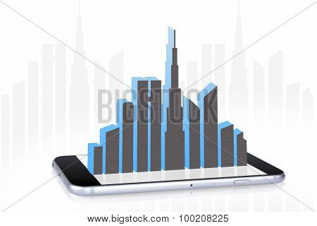 City Landscape on Smartphone Screen