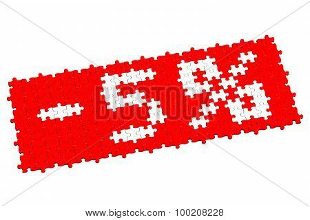 Red Puzzle With Sign -5%