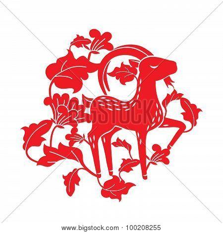 goat in flora illustration