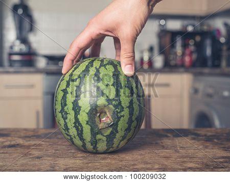 Hand Touching Rotten Melon In Kitchen