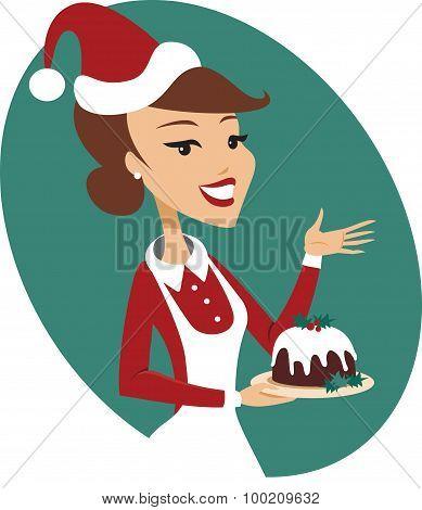 Young Woman Holding Christmas Pudding