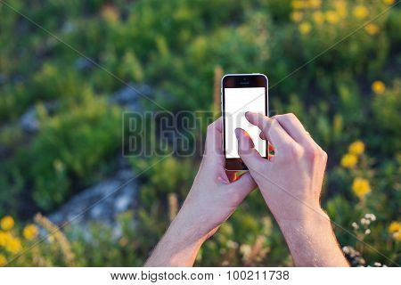Man Takes A Picture By Smartphone