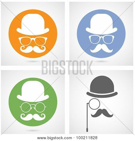Silhouette of gentleman's face with moustaches bowler and glasses