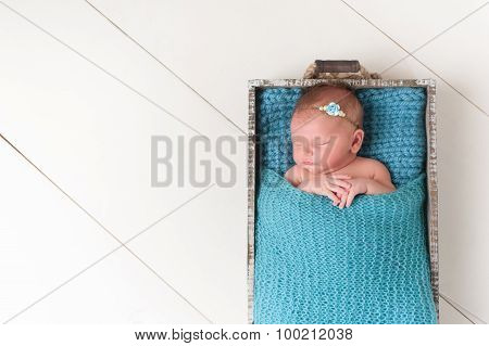 Sleeping Newborn Baby Girl In Wood Crate