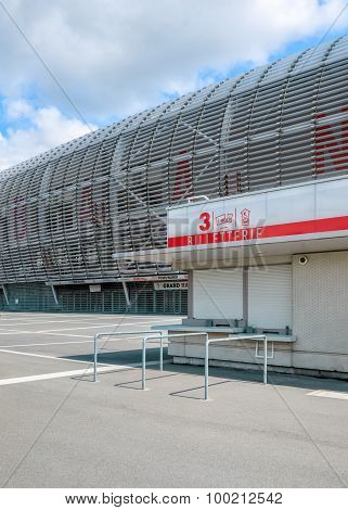 View of new Pierre Mauroy football stadium ticket office