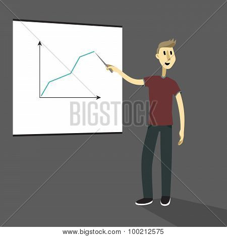 cartoon business man explaining and pointing at white board