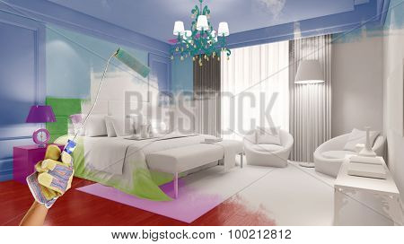 Hand of painter with paint roller coloring a bedroom (3D Rendering)