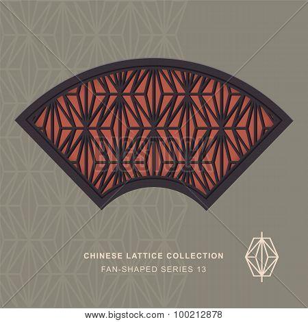 Chinese window tracery fan shaped frame 13 rhomb
