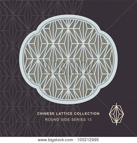 Chinese window tracery round side frame 13 rhomb