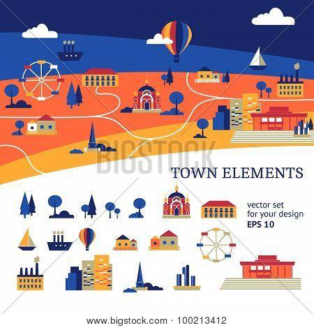 vector town elements