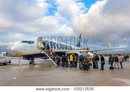 Passengers Boarding Ryanair Jet Airplane