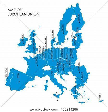 Blue Map Of European Union Borders