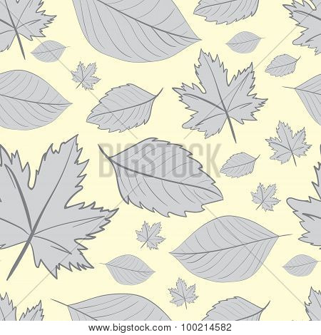 Seamless gray leaves