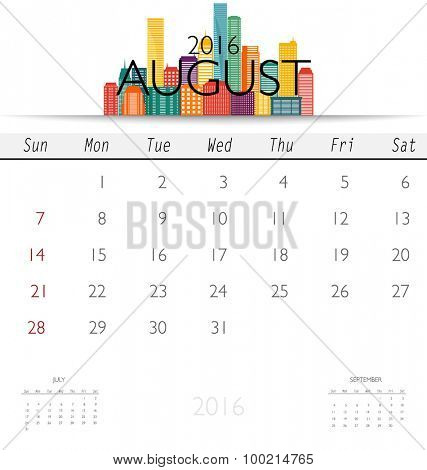2016 calendar with Creative building design template, monthly calendar for August. Vector illustration.