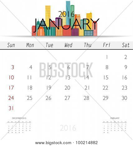 2016 calendar with Creative building design template, monthly calendar for January. Vector illustration.