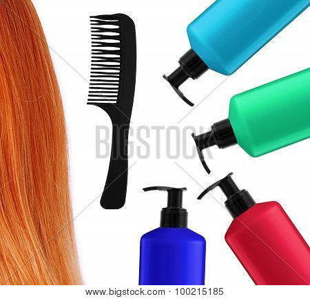 Shampoo Bottles, Comb And Red Hair Isolated On White