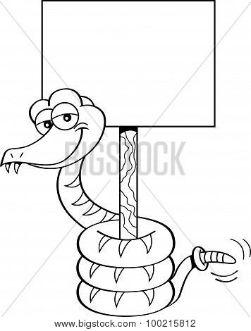 Cartoon snake holding a sign.