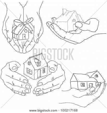 Drawn humans hands holding house