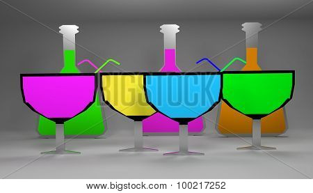Flat Bright Wine Glasses With Bottles