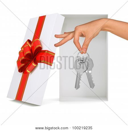 Open gift box with hand and keys on white