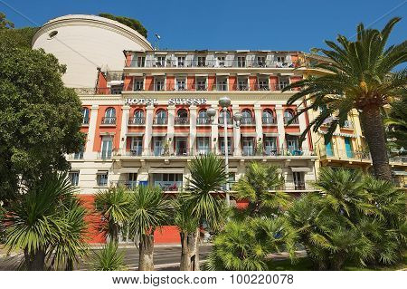 Exterior of the historical building of the Hotel Suisse in Nice, France.
