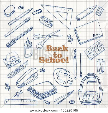 Back to school - set of objects in sketch style on a paper