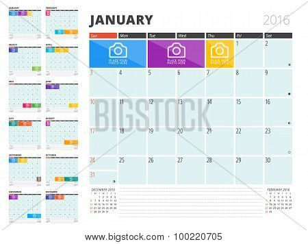 Calendar Planner 2016 Design Template With Place For Photos And Notes. Set Of 12 Months. Week Starts
