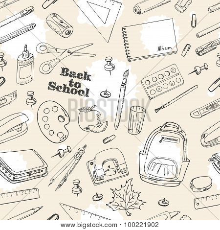 Back to School doodles seamless pattern