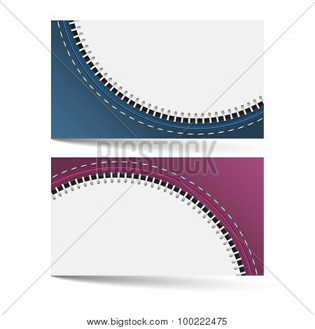 Horizontal business card template with zip pattern and place for your text
