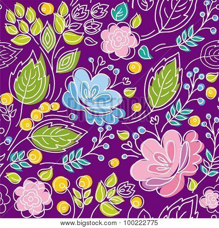 Seamless Violet Pattern, Blue...