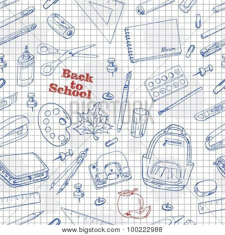 Back to School doodles seamless pattern on a paper