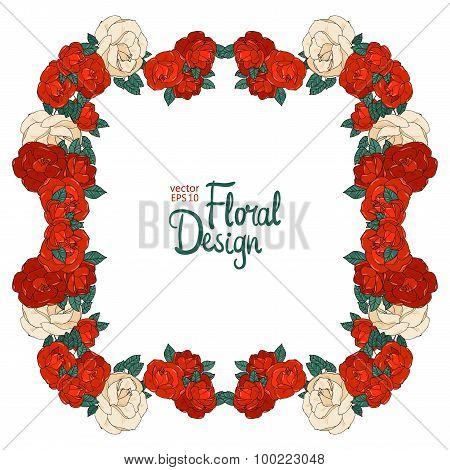 Vintage floral vector frame