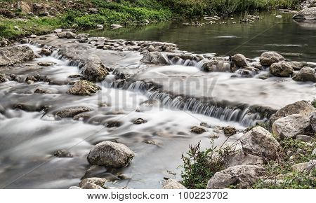 Stream And Little Waterfalls. Long Exposure On Torrent River