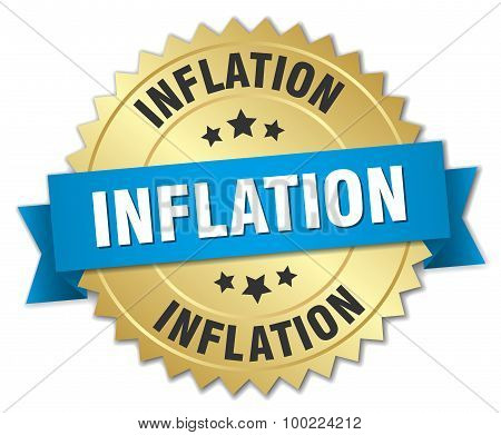 Inflation 3D Gold Badge With Blue Ribbon