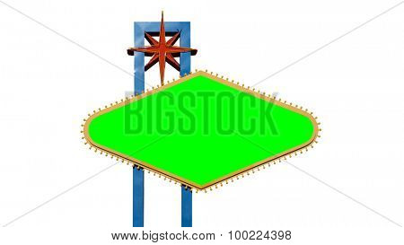 Famous Welcome to Las Vegas sign isolated on white with green chroma key.  File size match for 4k video.