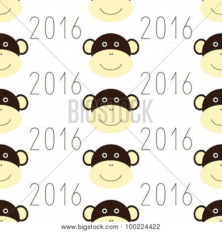 Pattern With Monkey Face And 2016 Numbers