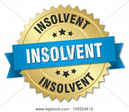 Insolvent 3D Gold Badge With Blue Ribbon