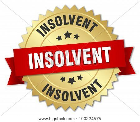 Insolvent 3D Gold Badge With Red Ribbon