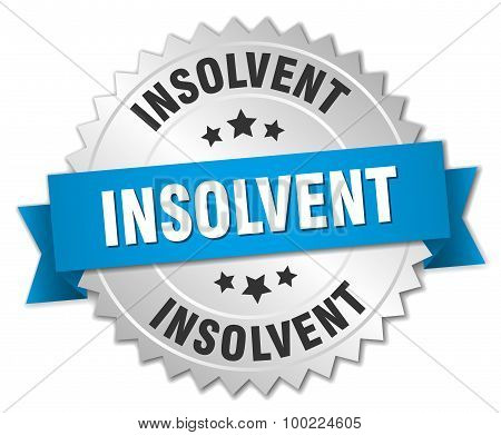 Insolvent 3D Silver Badge With Blue Ribbon