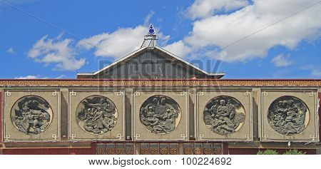 bas-reliefs on the building of former lenin museum in Ulaanbaatar